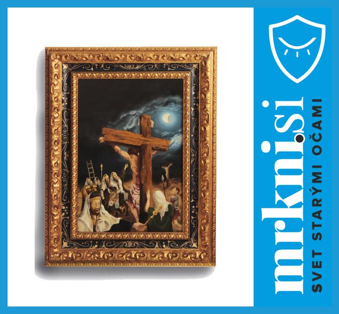 Olejomaľba Páchatelia Bohovraždy na lepenej dubovej doske (350 x 500 x 20 mm)